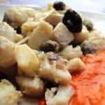 Bocconcini di Filetto Persico con Mandorle sfogliate su crema di Peperone Rosso